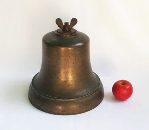 Large antique bronze bell for chapel, school, ship, estate, nautical. Includes bronze clapper, 9.5 inch