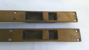 Large pair antique brass reclaimed sliding flush door bolts - Cornish provenance, reclaimed from the Looe branch of Barclays Bank