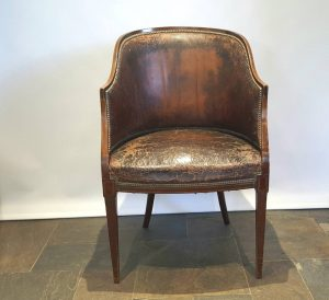 Antique tub chair, an Edwardian inlaid mahogany tub chair by Hamilton and Crawford, with very original finish and upholstery, dated 1904