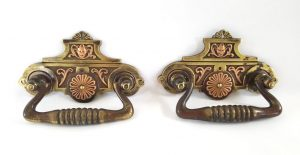 Antique pair Arts & Crafts drawer handles copper and brass cabinet cupboard pulls, salvaged 19th c drawer pulls, bi-metal Aesthetic Movement