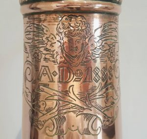 Huge antique German copper lidded stein, 19th Century engraved & dated beer ewer, Victorian ale, beer, lager, water jug dated 1888