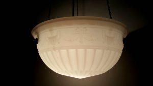 Beautiful Edwardian antique milk glass plafonnier, subtle Neoclassical urns, swags & bows