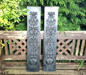 Pair antique cast iron hob grate panels reclaimed from Pilton House, Barnstaple, a grade II listed mansion, versatile and decorative items.