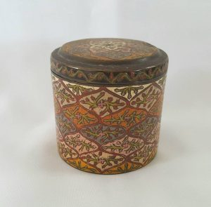 Indian brass and enamel lidded box, colourful decoration & Middle Eastern design, a pretty Indian caddy with petal and foliate patterns