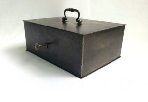 Vintage steel safe box, portable deed safe tin, old lockable cash box, attractive old burnished and oiled patina finish, comes with key.
