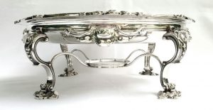 Fine 19th Century silver plated serving dish, a very good chafing/warming dish - unusually elaborate decoration to the stand, burner absent