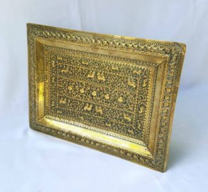 Antique Indian brass repousse tray - good detail, elaborate rectangular platter, foliate design with birds and stylised creatures