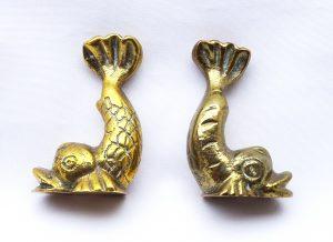 Vintage Maltese brass dolphin paperweights