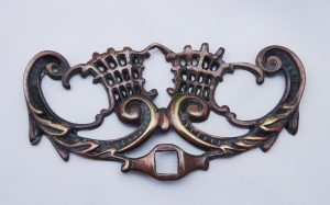 Antique copper & brass mount, decorative furniture mount, scrolled acanthus leaf, copper plate on brass, plaque, architectural salvage