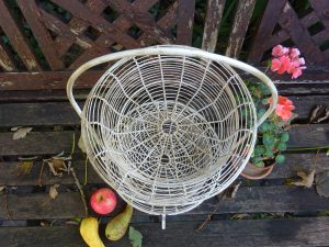 Antique French two tier wirework basket, painted cream