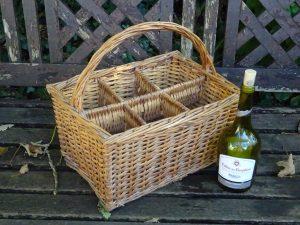 Vintage French bottle crate, basket, wicker wine bottle holder, willow bottle crate, holds 6 bottles