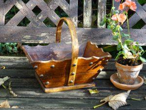 Vintage French wooden trug, harvesting basket, gathering basket, farmhouse trug