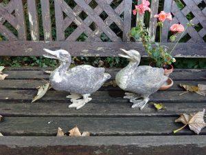 Antique garden duck ornaments, garden statues, pair of spelter ducks, aged patina, gardenalia, garden statuary, old ornamental metal ducks