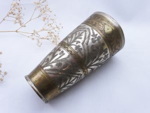 Antique Middle Eastern beaker, silver plated on spun brass, hand etched Mughal style designs, Colonial Indian engraved beaker, flower vase