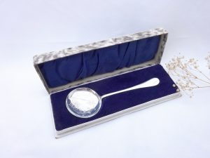 Vintage silver plated engraved serving spoon in blue velvet lined box by Francis Howard, 1950's large flat round spoon in marbled paper box