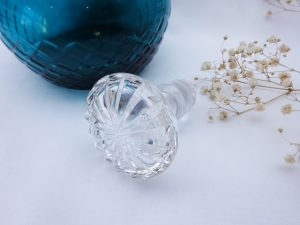 Antique cut glass decanter, 19th century teal glass decanter, hand cut, polished pontil mark, replacement vintage clear cut glass stopper