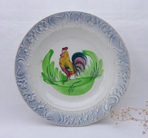 Antique French bowls, Nouvelles Usines Céramiques du Nord St Amand. 1920's hand painted cockerel large dishes, rooster