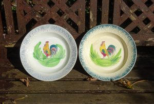 Antique French bowls, Nouvelles Usines Céramiques du Nord St Amand. 1920's hand painted cockerel large dishes, rooster