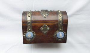 Victorian Gothic walnut and Jasperware disc stationery box by Howell James & Co. Antique desk tidy, storage box, office decor, desk storage