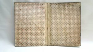 19th Century desk blotter, papier mache with painted and mother-of-pearl finish