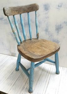 Antique child's chair, a rustic country stick-back beech frame chair with elm seat