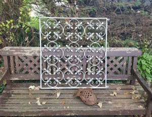 Vintage wrought iron window grille