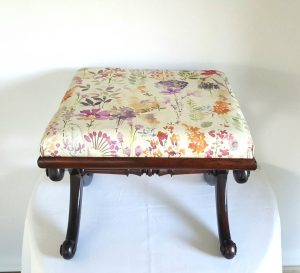 Regency rosewood X frame stool, freshly upholstered in floral fabric, Regency or William IV dating from circa 1820-1830