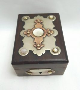 Victorian Gothic watch case with Arts & Crafts styling in rosewood with brass, copper and mother-of-pearl