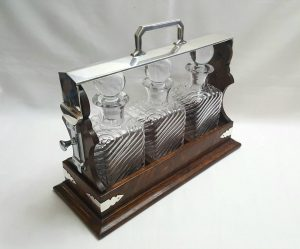 Antique oak triple tantalus with silver plated fittings and three brand new handmade decanters by Krosno Glass