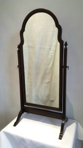 Antique Mahogany toilet mirror in the manner of a small cheval mirror