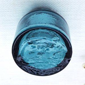 Antique rare small teal glass rat paste bottle, miniature rat poison bottle with shear top, tiny burst top poison bottle, 3cm, rat on base