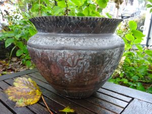 Antique Indian copper jardiniere, repoussé Indian copper planter, elephants, antelope, aged patina copper plant pot, verdigris, gardenalia