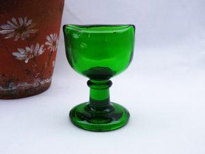 Antique green eye bath by Wood Brothers, green glass eye bath, Made in England, W on base