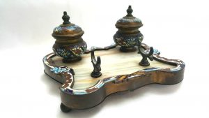 19th Century French Champleve Enamel and Ormolu Inkstand