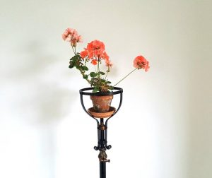 Adjustable stand, a late Victorian Edwardian telescopic wrought iron & copper floor stand originally for an oil lamp, suitable for upcycling