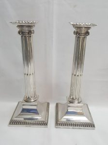 Victorian neoclassical candle sticks by Hawksworth & Eyre
