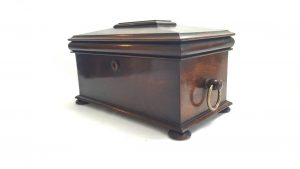 Regency tea caddy in rosewood of sarcophagus form with twin tea caddy removable compartments and mixing bowl, William IV circa 1820-1830