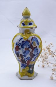18th century Delft polychrome urn shaped ornament