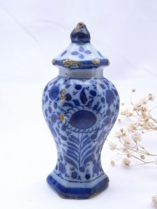 18th century Delft blue and white urn shaped ornament