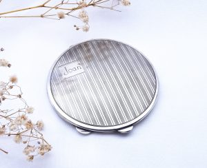 Art Deco solid silver powder compact