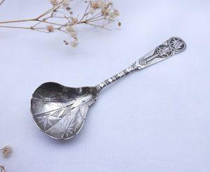 Vintage Art Deco solid silver Japanese tea caddy spoon