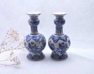 Pair 18th Century Delft vases,