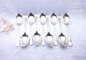 Antique silver plated tablespoons by Mappin & Webb x 9