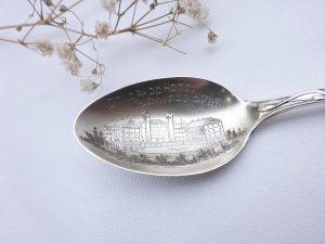 Vintage American engraved sterling silver souvenir spoon for Colorado Hotel Glenwood Springs