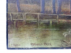 Antique oil painting on board 'Admiral's Park' by J. Rayll