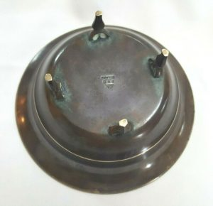 Antique Just Andersen Denmark bronze bowl B-42, a rare collectible item, Art Deco Danish bronze bowl