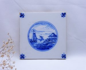 Vintage Delft tile, boat, windmill, blue and white faience tile, Dutch hand painted Delftware ceramic tile