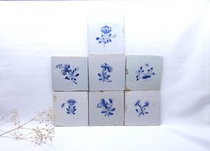18th & 19th Century Delft tiles, blue and white faience tiles, hand painted floral, insects, antique Delftware ceramic tiles, home decor