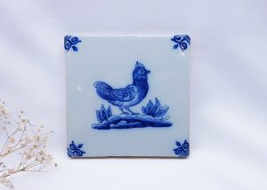 Vintage Delft tile, hen, Makkum Royal Tichelaar, Holland, Dutch Delft blue & white tile, chicken