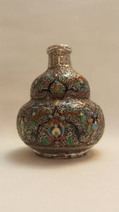 Middle Eastern / Ottoman silver and enamel small bulbous bud vase dating from the early 20th Century